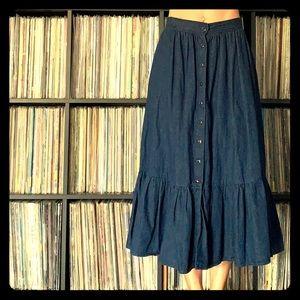 Vintage Denim Prairie Skirt Western XS 80s